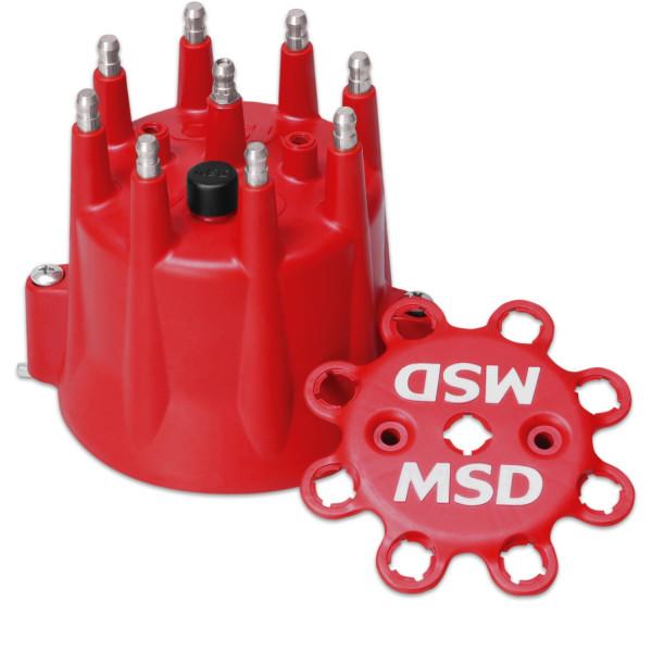 Distributor Cap, MSD Style, Black Chevy V8, HEI, Retainer