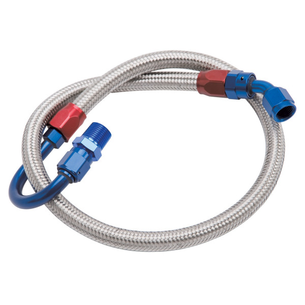 Fuel Hose Braided Stainless, Ford Small Block with Bottom Feed