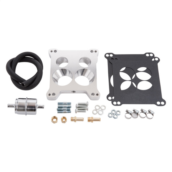 Adapter Square-Bore to QuadraJet & Thermo-Quad, with Fuel Line Kit